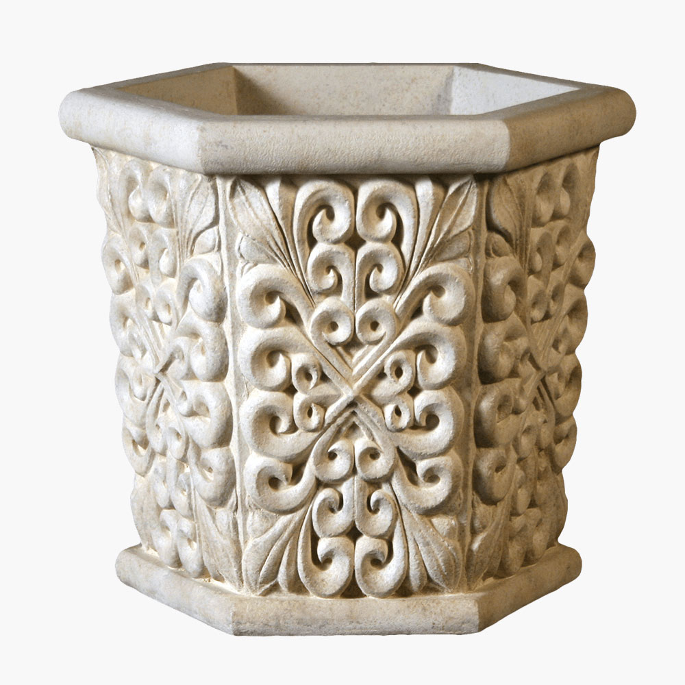 Intricate Flower Design on Concrete Hexagonal Planter