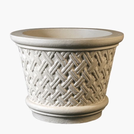Commercial planters featuring intricate french weave styling.