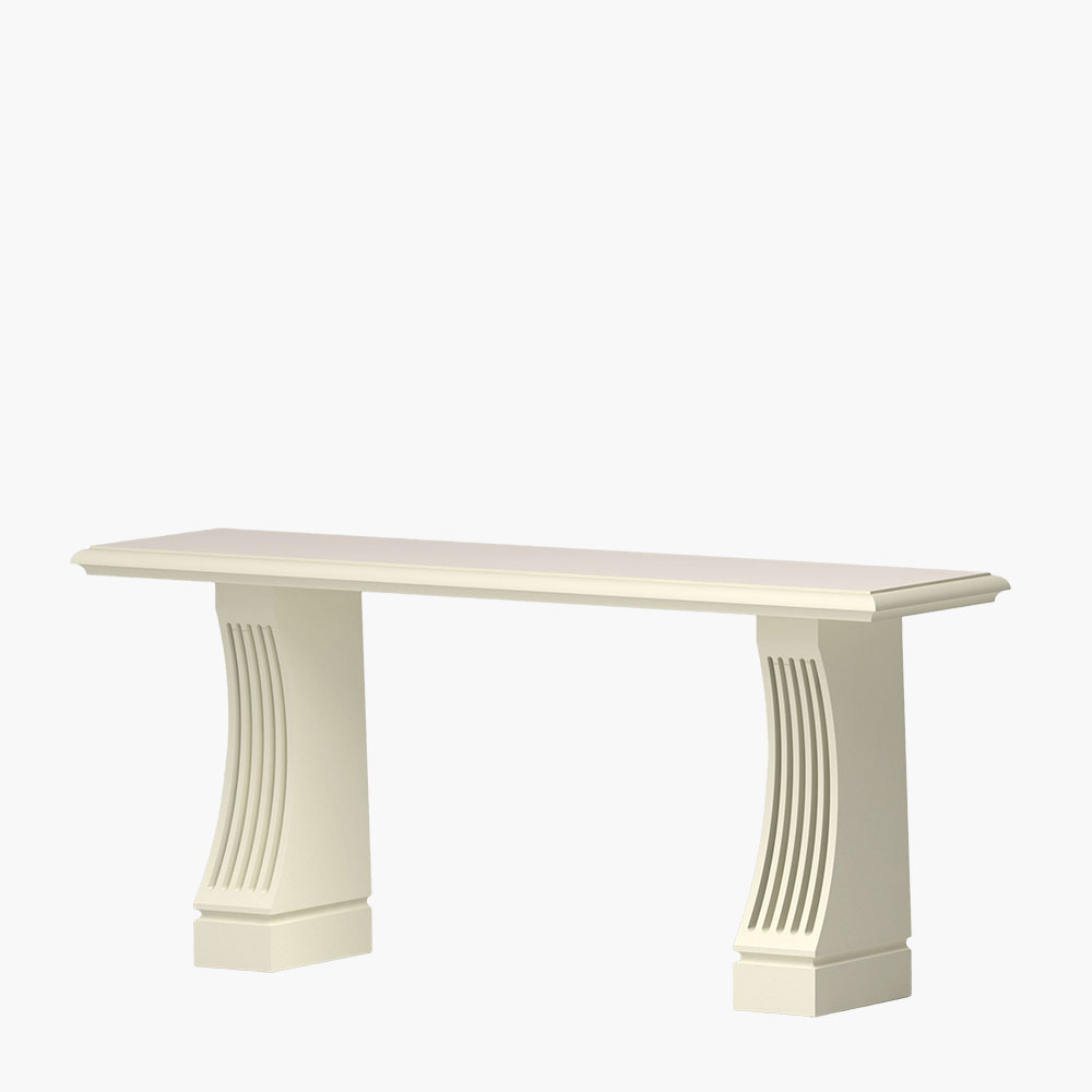 Fluted corbel base for foyer tables