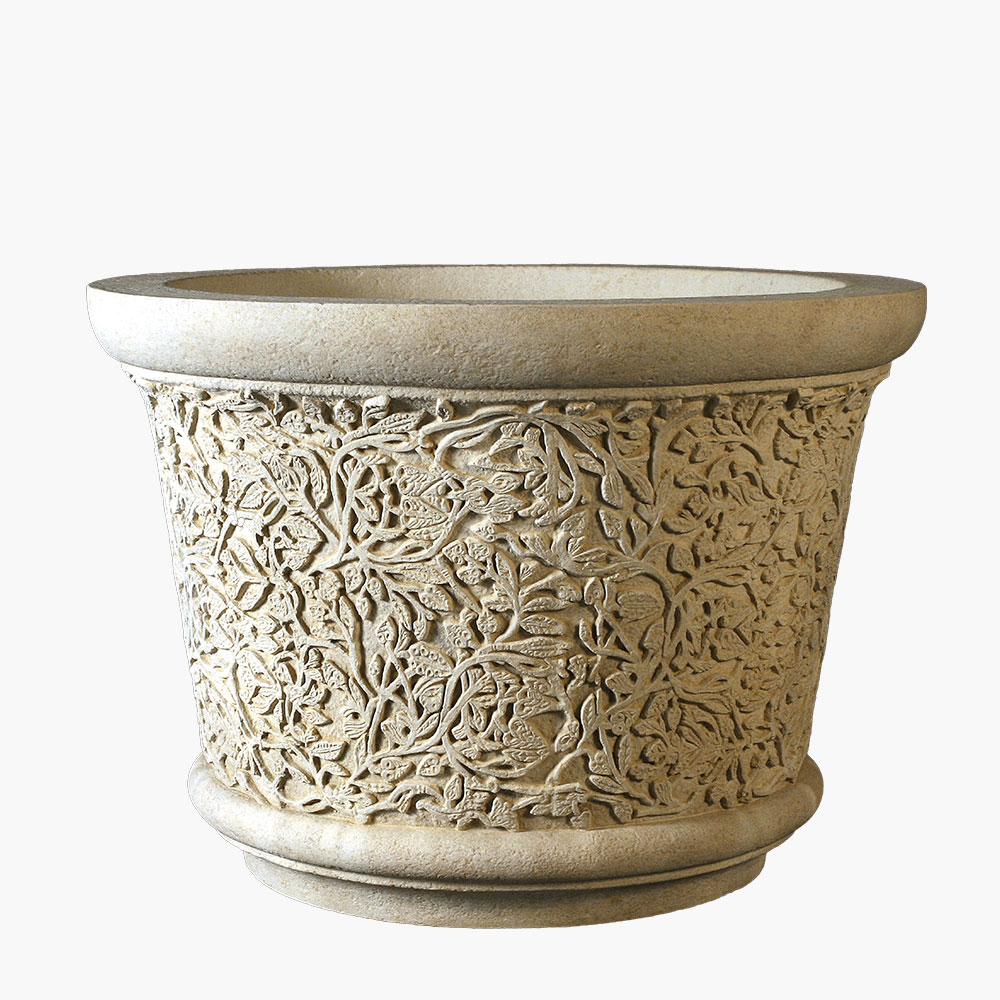Intricately Carved Stone Planter