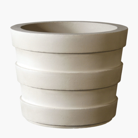 James is Stone Yard's elegant banded hotel planter for outdoors.