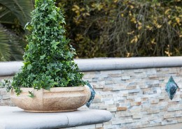 Etruscan Bowl With Ivy Cone along Pool