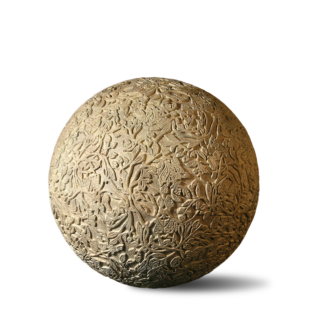 Carved Floral GFRC Sphere