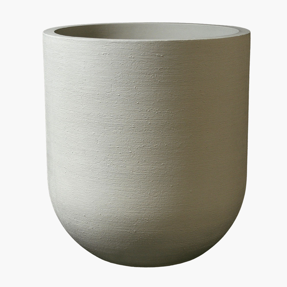 Round modern planter with soft curves and design is perfect for a multitude of designs.