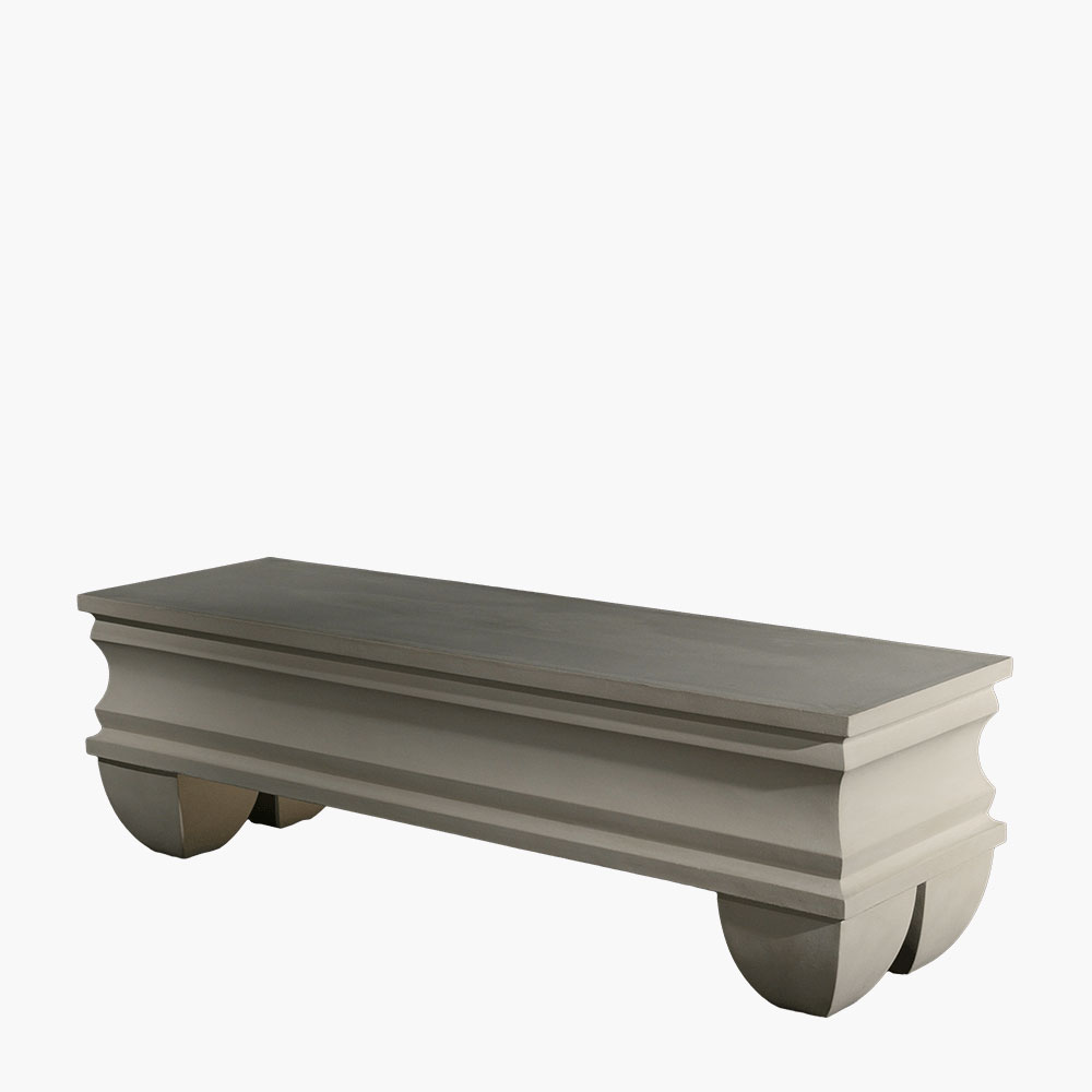 Durable stone bench seating perfect for outdoor gardens.