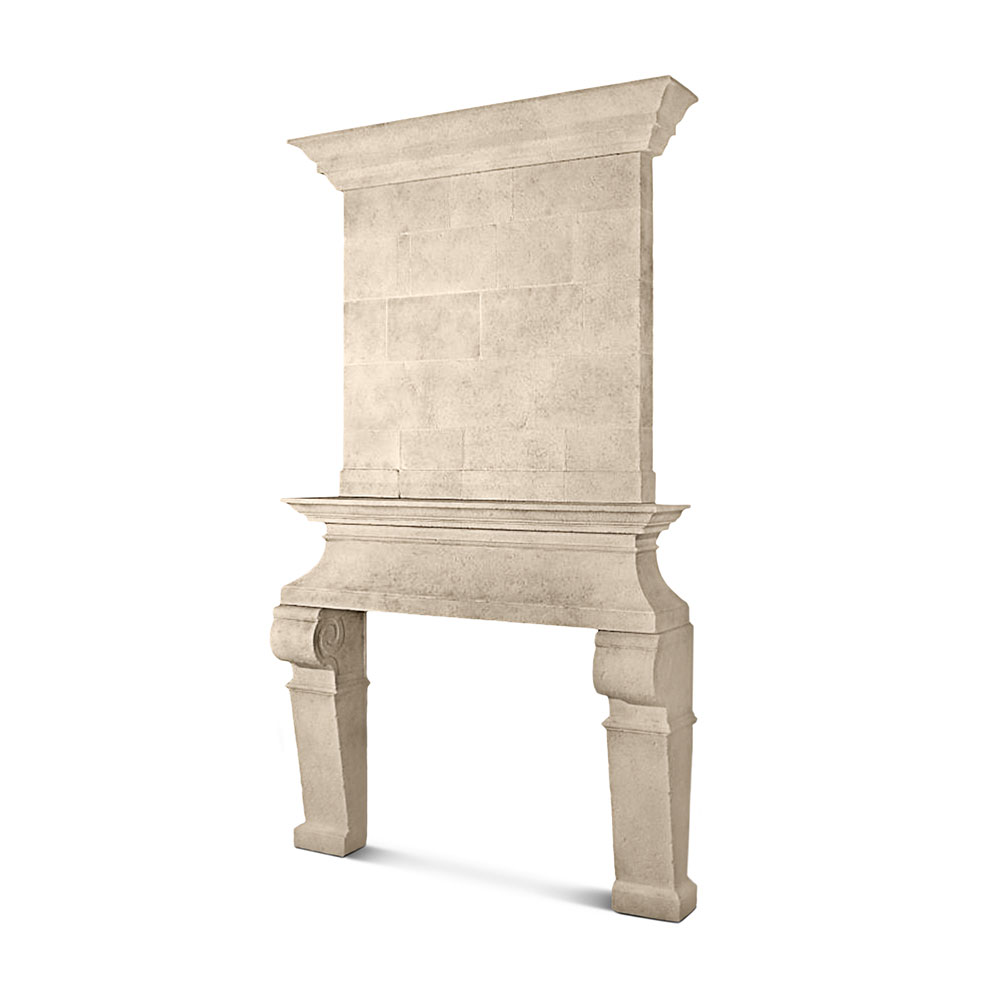 Lugano Stone Mantel with Trumeau