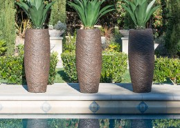 Roman Pond Planters along Pool Side